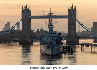 Tower Bridge and HMS Belfast at Dawn