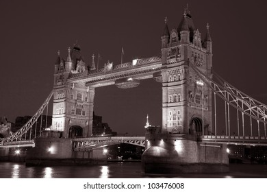 Tower Bridge illuminated at night, London