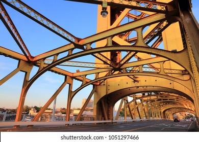 Tower Bridge - infrastructure in Sacramento, California, USA.