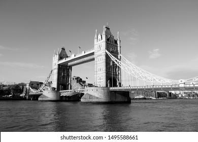 Tower Bridge - landmark in London, UK. Black and white retro style.