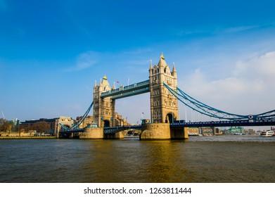 Tower Bridge, landmark and tourist attraction, London, England.