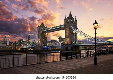 Tower Bridge, London - April 6, 2016: Tower Bridge is a combined bascule and suspension bridge in London. It crosses the River Thames near the Tower of London and has become an iconic London symbol.