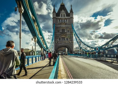 Tower Bridge in London edited with light HDR. April 16, 2018