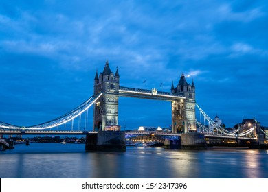 tower bridge in London, England at blue hour