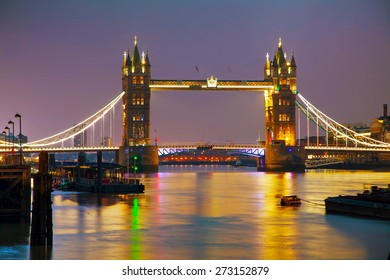 Tower bridge in London, Great Britain at the night time