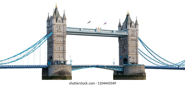Tower Bridge in London isolated on white background with clipping path
