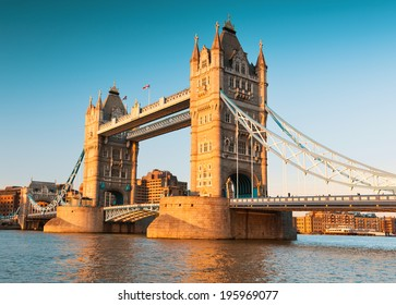 Tower Bridge in London in the late afternoon