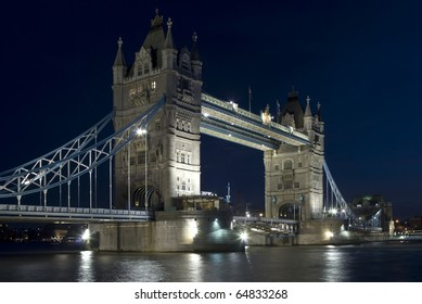 The Tower Bridge in London in the night
