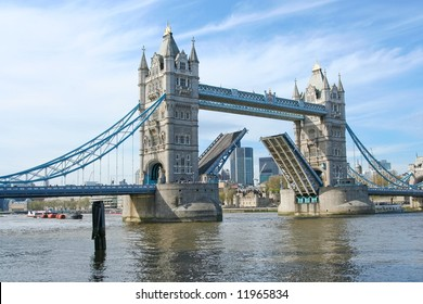 Tower Bridge, London. Opening for a ship to pass
