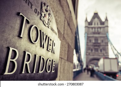 Tower Bridge London Plaque in Golden Sun