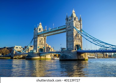 Tower Bridge in London, UK with blue sky