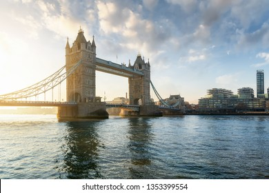 The Tower Bridge in London, UK, during a calm morning after sunrise