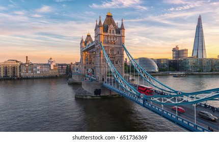 Tower Bridge in London, the UK. Sunset with beautiful clouds