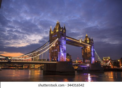 Tower Bridge in London,  wide angle, sunset.