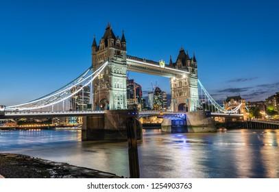 The Tower Bridge, Londons famous landmark, at night