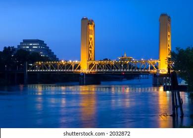 Tower Bridge at Night in Sacramento