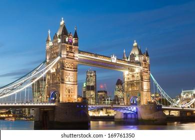 Tower Bridge at night twilight London, England, UK