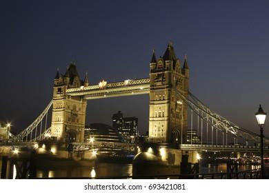 Tower Bridge at night, water reflection, Southwark, London, England, United Kingdom, Europe