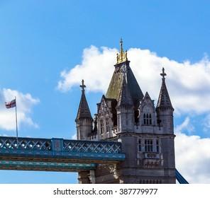 Tower Bridge on blue sky background. London, UK