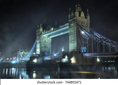 Tower Bridge on a foggy night