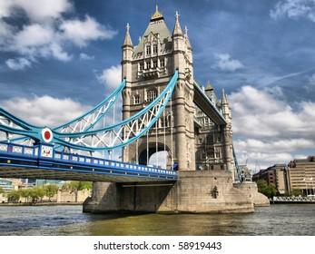 Tower Bridge on River Thames, London, UK - high dynamic range HDR