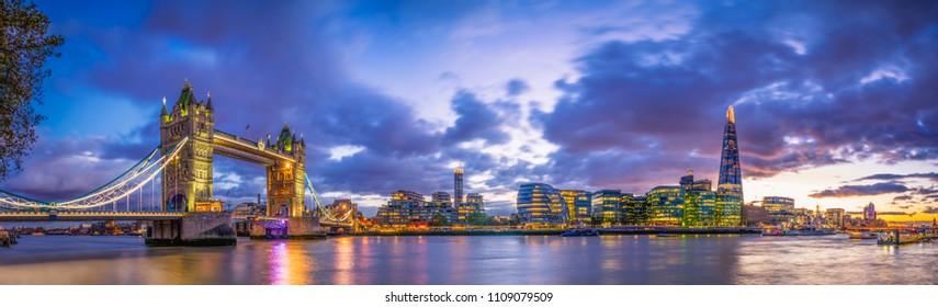 Tower Bridge  panorama at blue hour
