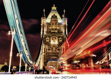 Tower Bridge with Red Bus lights.