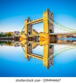 Tower Bridge with reflection in London - England