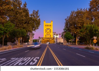 Tower Bridge in Sacramento California USA around Sunset