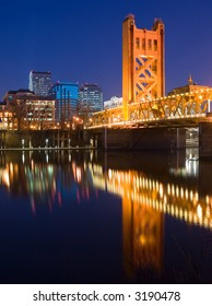 Tower Bridge and Sacramento downtown at night