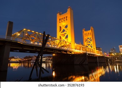 Tower Bridge Sacramento River Capital City California Downtown Skyline