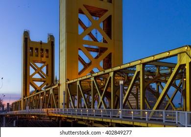 tower bridge in sacramento,ca at sunset