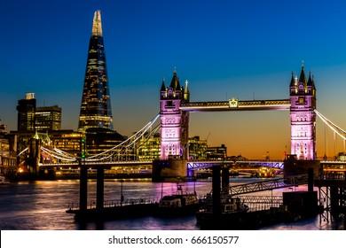 Tower Bridge and Shard in London at night