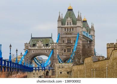 Tower Bridge side view on rainy day, London, UK