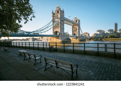 tower bridge in sunny morning London, UK