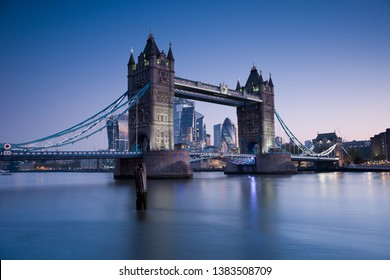 Tower Bridge at sunrise with a clear sky