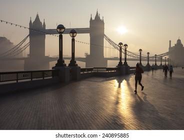 Tower bridge at sunrise, London