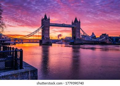 Tower bridge at sunrise in London,England