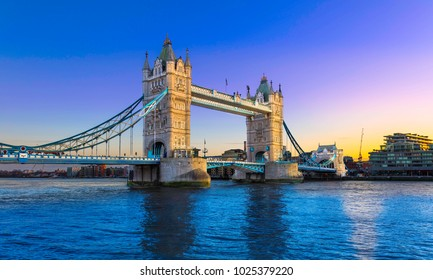 Tower Bridge at sunset with a clear colourful sky