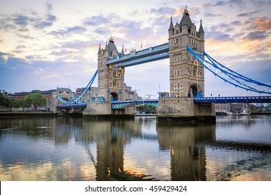 Tower Bridge at Sunset, London, United Kingdom.
