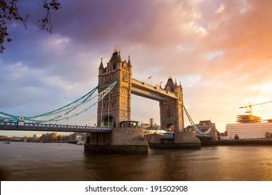 Tower Bridge at sunset twilight London, England, UK