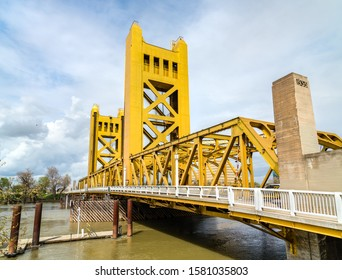 The Tower Bridge, a vertical lift bridge across the Sacramento River in California, United States