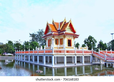 The tower of Buddhist angkhirot located in the public place.So the public worship.In garden city of rayong thailand Asia