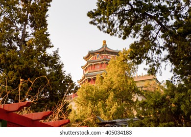 Tower of Buddhist Incense at the Summer Palace complex, an Imperial Garden in Beijing. UNESCO World Heritage.