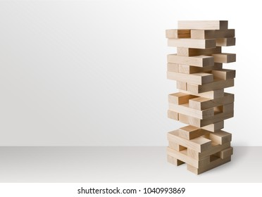Tower build of wooden blocks