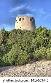 Tower of Cala Pira in Sardinia, Italy