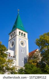 Tower of Calvinist church (Kalvinsky kostol) in Bratislava, Slovakia - Shutterstock ID 1571289112