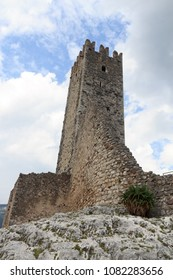 Tower of Castle ruin Castel Drena in Trentino, Italy