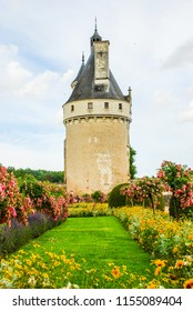 Tower of The Chateau de Chenonceau is a French chateau spanning the River Cher, near the small village of Chenonceaux in the Indre-et-Loire departement of the Loire Valley in France. It is one of the