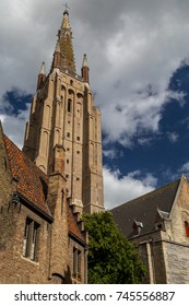 Tower of a church in Bruges, Belgium